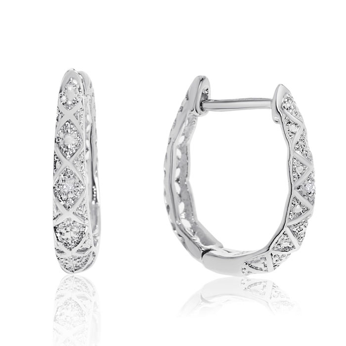 Delicately Embellished Diamond Hoop Earrings, Silver Overlay, 3/4