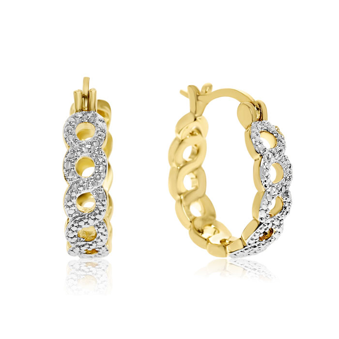 Infinity Diamond Hoop Earrings, Yellow Gold (5 g) Overlay, 3/4 In