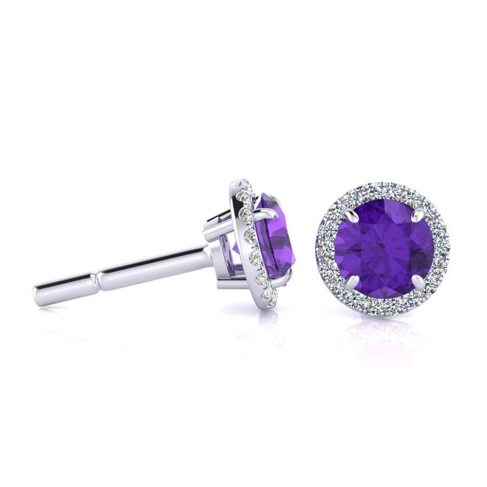1 Carat Round Shape Amethyst & Halo Diamond Earrings in 14K White