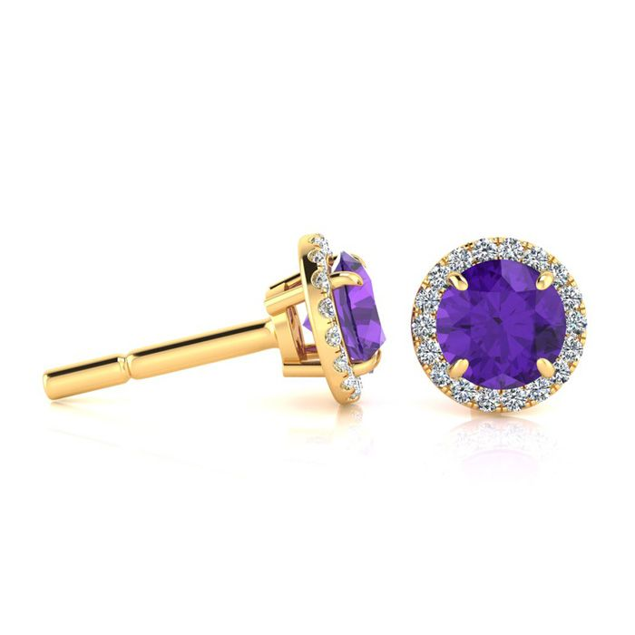 1 Carat Round Shape Amethyst & Halo Diamond Earrings in 14K Yello