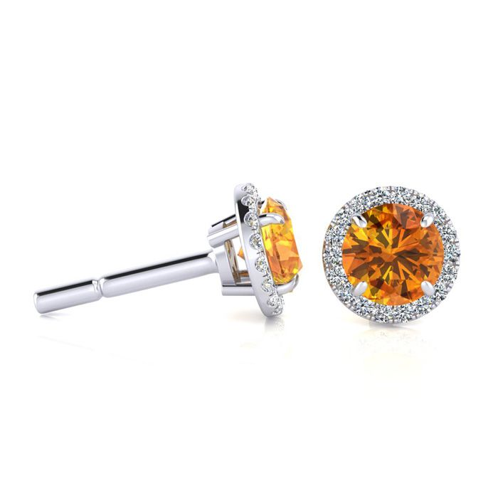 1 Carat Round Shape Citrine & Halo Diamond Earrings in 14K White