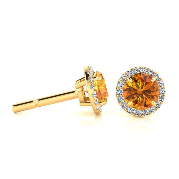 1 Carat Round Shape Citrine & Halo Diamond Earrings in 14K Yellow
