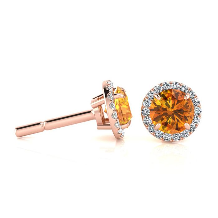 1 Carat Round Shape Citrine & Halo Diamond Earrings in 14K Rose G