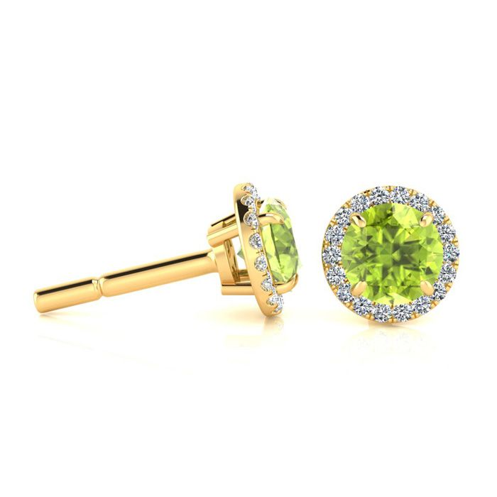 1.25 Carat Round Shape Peridot & Halo Diamond Earrings in 14K Yel