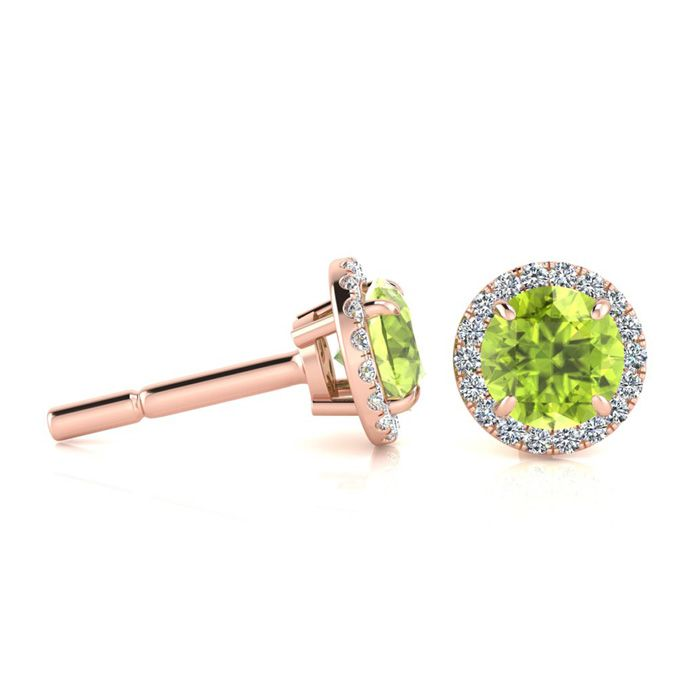 1.25 Carat Round Shape Peridot & Halo Diamond Earrings in 14K Ros