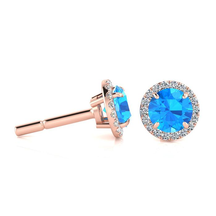 1.25 Carat Round Shape Blue Topaz & Halo Diamond Earrings in 14K