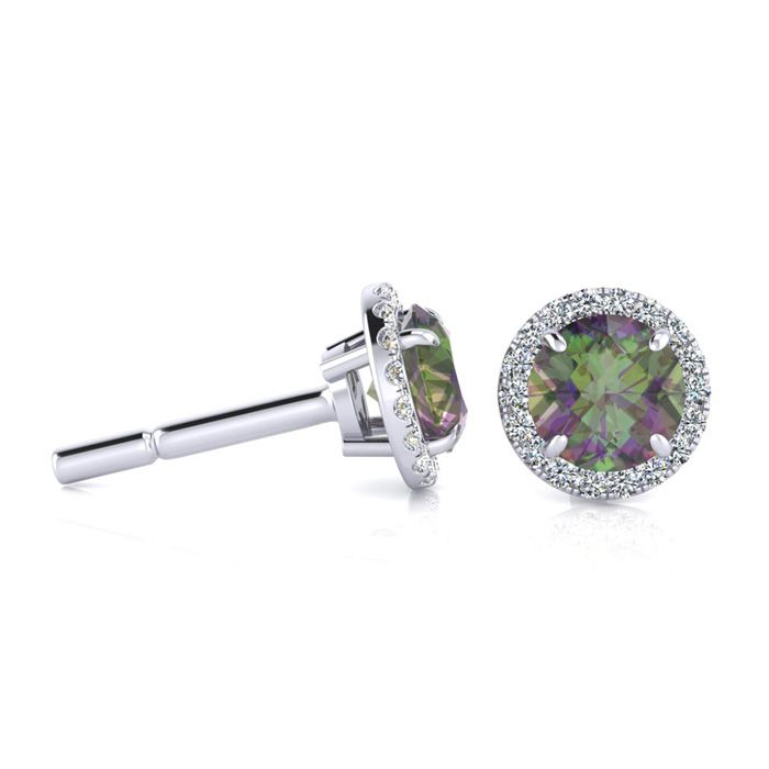 1 Carat Round Shape Mystic Topaz & Halo Diamond Earrings in 14K W