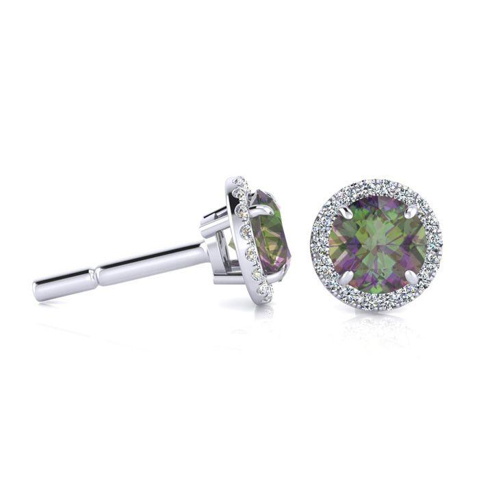 1 Carat Round Shape Mystic Topaz & Halo Diamond Earrings in 14K White Gold (1.4 g), H/I by SuperJeweler