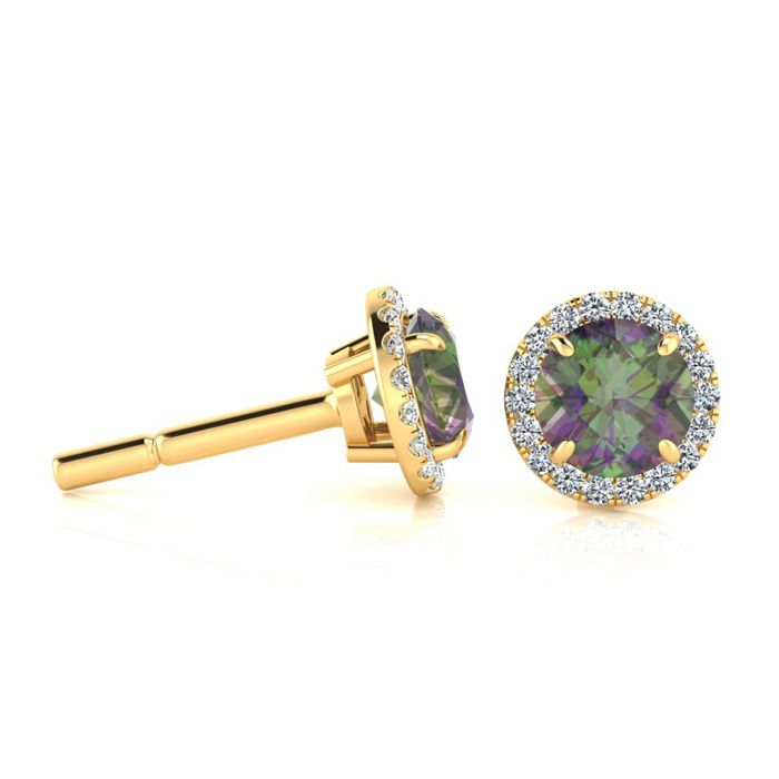 1 Carat Round Shape Mystic Topaz & Halo Diamond Earrings in 14K Y