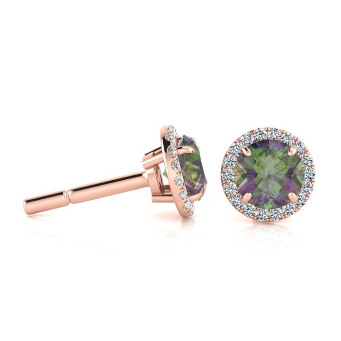 1 Carat Round Shape Mystic Topaz & Halo Diamond Earrings in 14K R