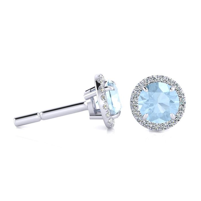 1 Carat Round Shape Aquamarine & Halo Diamond Earrings in 14K Whi