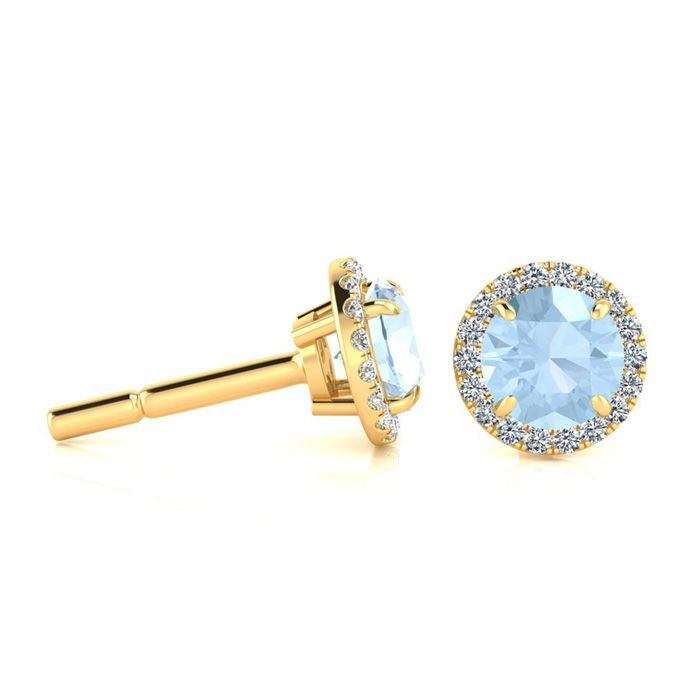 1 Carat Round Shape Aquamarine & Halo Diamond Earrings in 14K Yel
