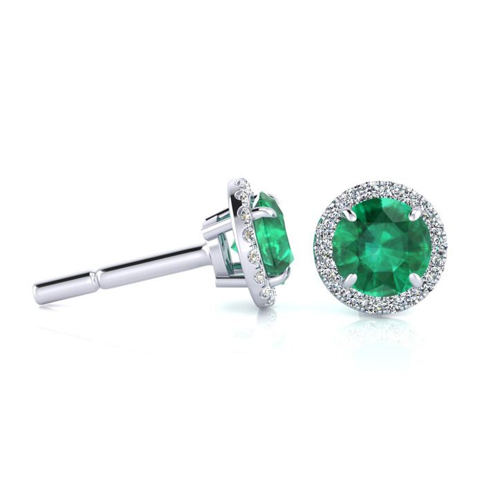 1 Carat Round Shape Emerald Cut & Halo Diamond Earrings in 14K Wh