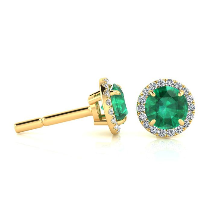 1 Carat Round Shape Emerald and Halo Diamond Earrings In 14 Karat Yellow Gold