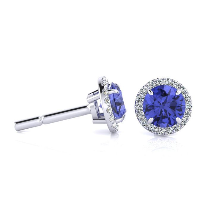1.25 Carat Round Shape Tanzanite & Halo Diamond Earrings in 14K W