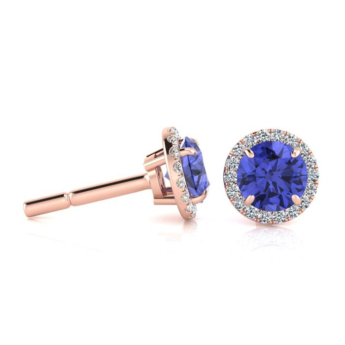 1.25 Carat Round Shape Tanzanite & Halo Diamond Earrings in 14K R