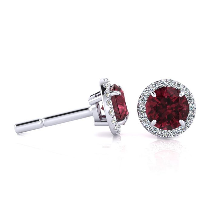 1 1/3 Carat Round Shape Garnet & Halo Diamond Earrings in 14K Whi