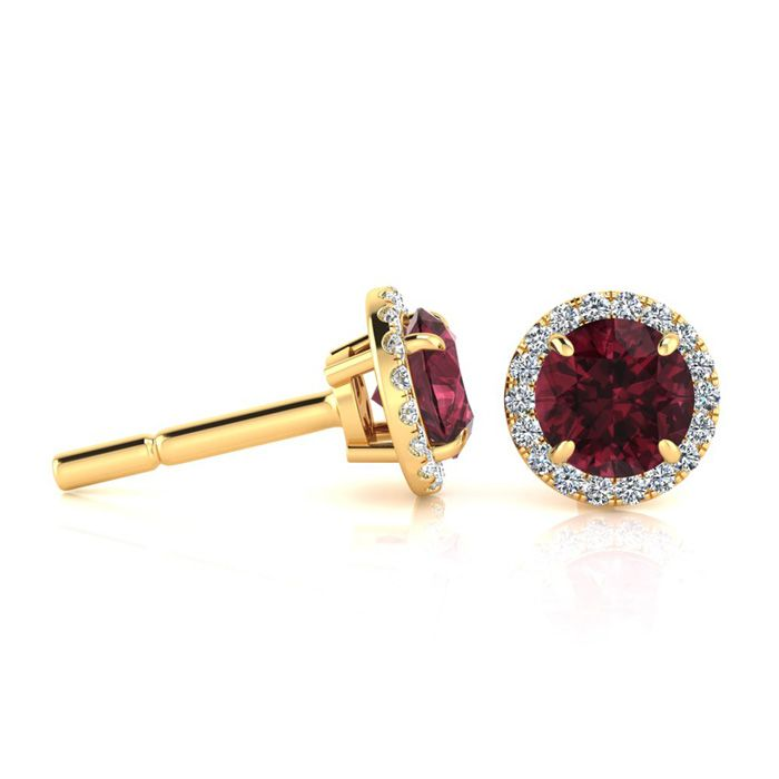 1 1/3 Carat Round Shape Garnet & Halo Diamond Earrings in 14K Yel