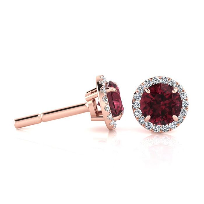 1 1/3 Carat Round Shape Garnet & Halo Diamond Earrings in 14K Rose Gold (1.4 g), H/I by SuperJeweler