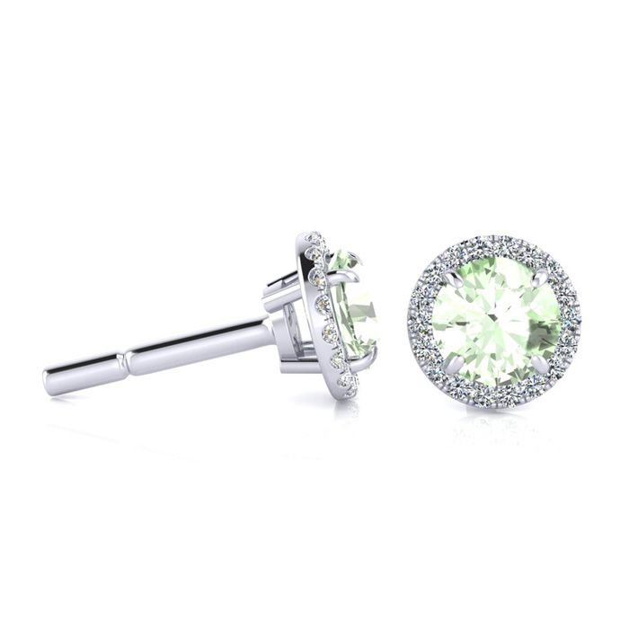 1 Carat Round Shape Green Amethyst & Halo Diamond Earrings in 14K