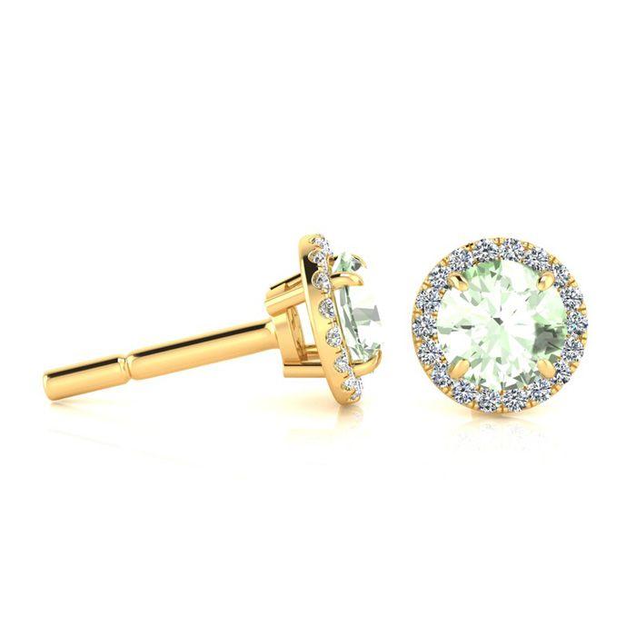 1 Carat Round Shape Green Amethyst & Halo Diamond Earrings in 14K