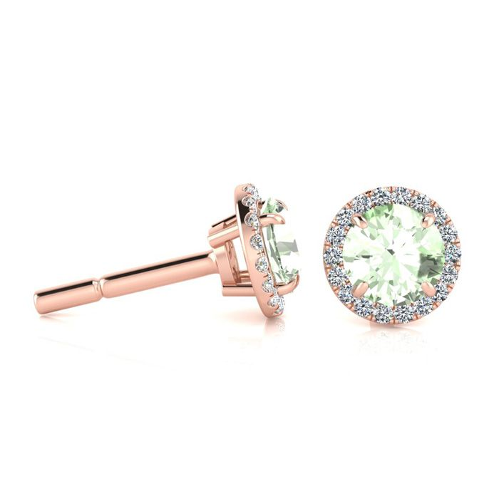 1 Carat Round Shape Green Amethyst & Halo Diamond Earrings in 14K Rose Gold (1.4 g), H/I by SuperJeweler