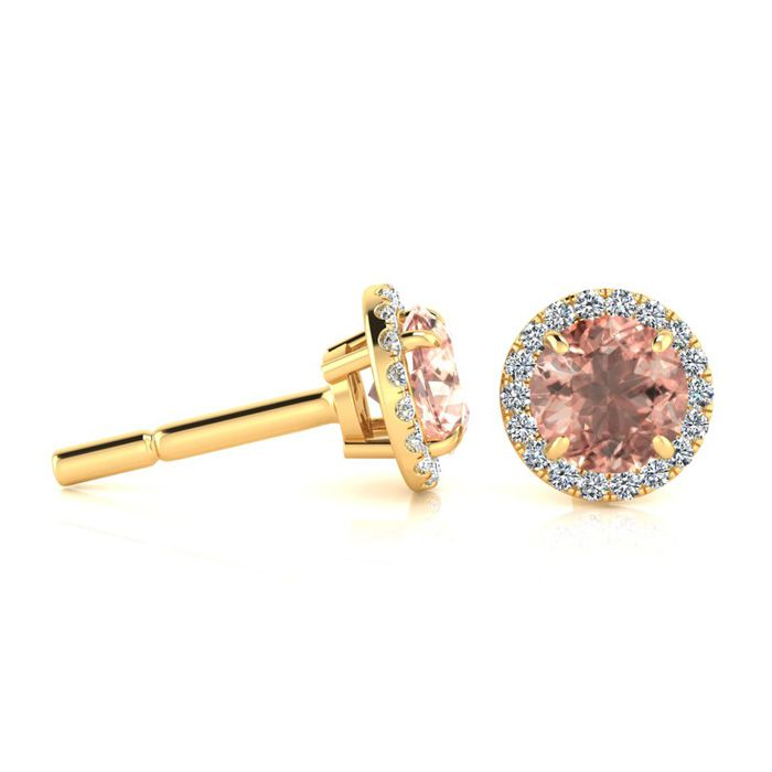 1 Carat Round Shape Morganite & Halo Diamond Earrings in 14K Yell
