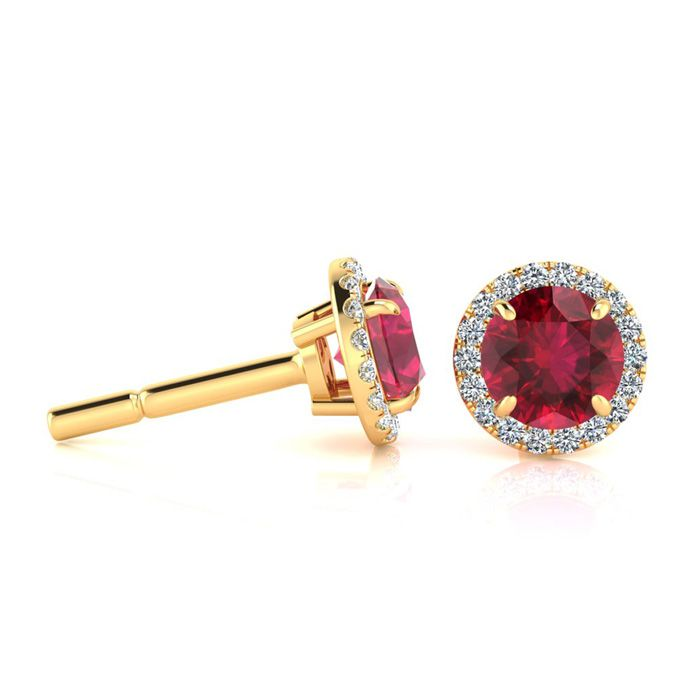 1 1/3 Carat Round Shape Ruby & Halo Diamond Earrings in 14K Yello