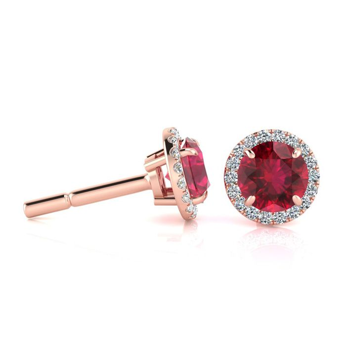 1 1/3 Carat Round Shape Ruby & Halo Diamond Earrings in 14K Rose