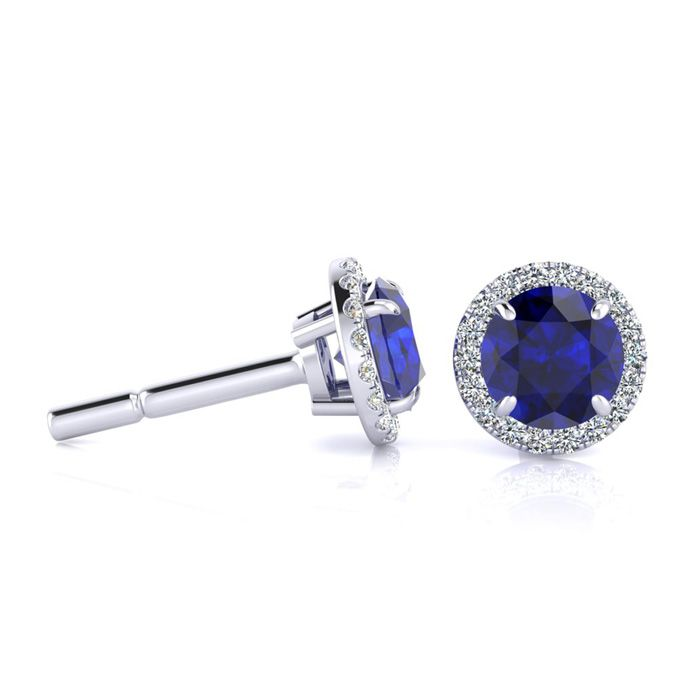 1 1/3 Carat Round Shape Sapphire & Halo Diamond Earrings in 14K W