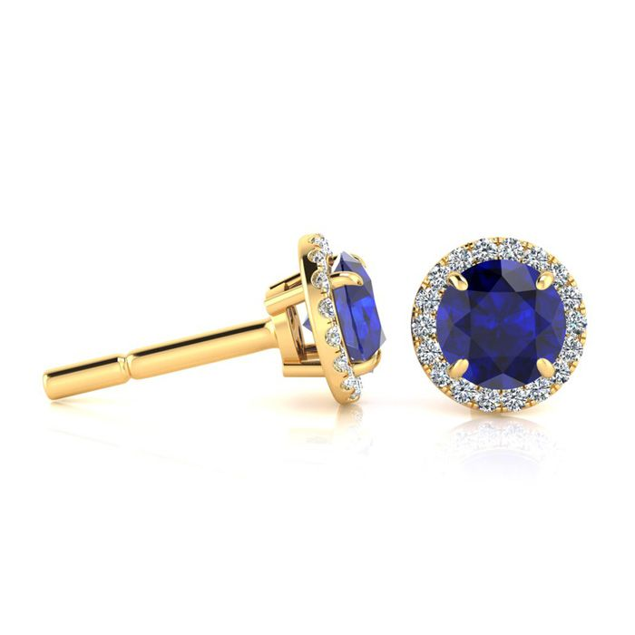 1 1/3 Carat Round Shape Sapphire & Halo Diamond Earrings in 14K Y
