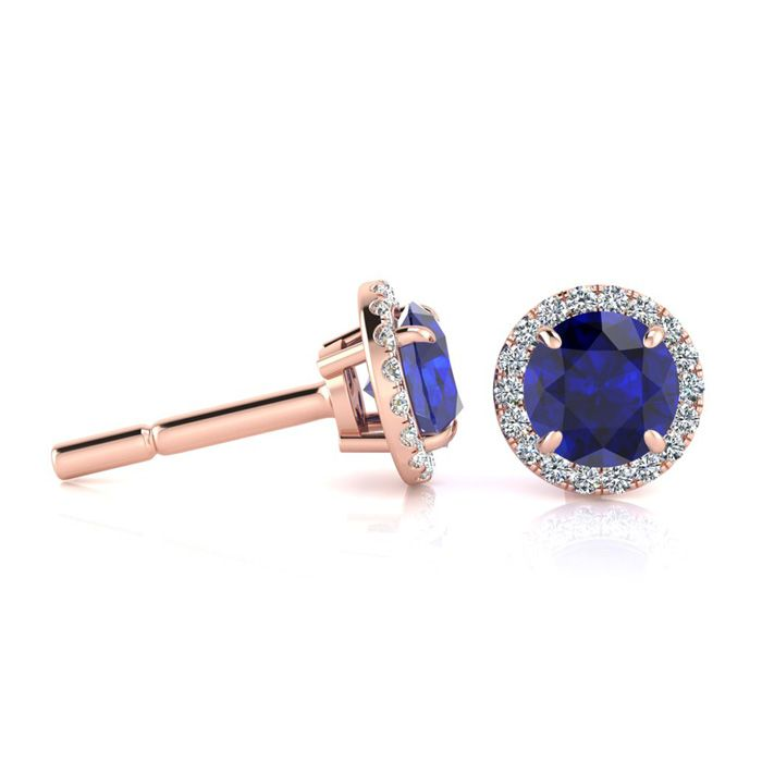 1 1/3 Carat Round Shape Sapphire & Halo Diamond Earrings in 14K R