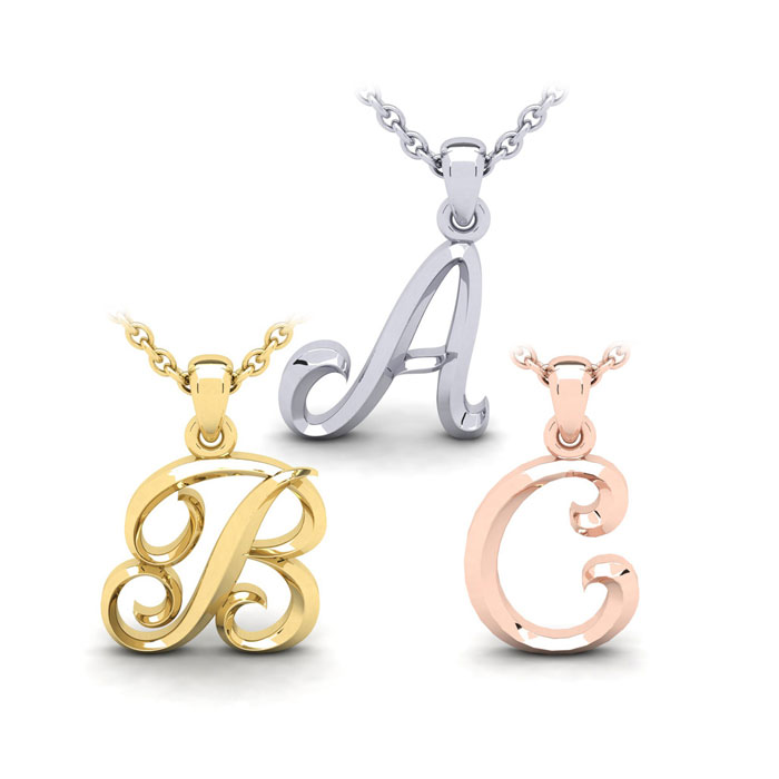 Bold Swirly Initial Necklace in Heavy 14K Gold w/ Free 18 Inch Ch