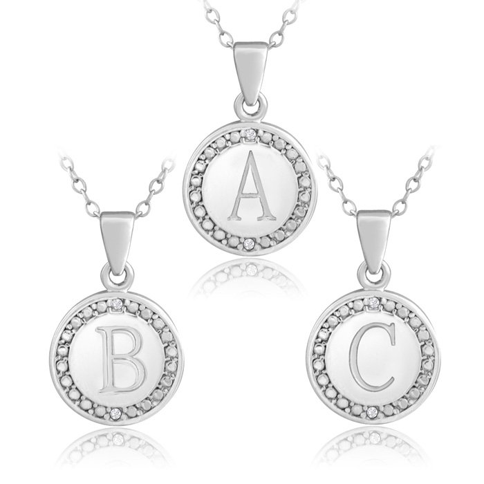 Preppy Initial Necklace w/ 2 Diamonds in Solid Sterling Silver w/