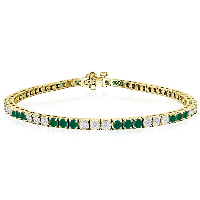 Fine quality 5 Carat Emerald and Diamond Bracelet in 14k Yellow Gold