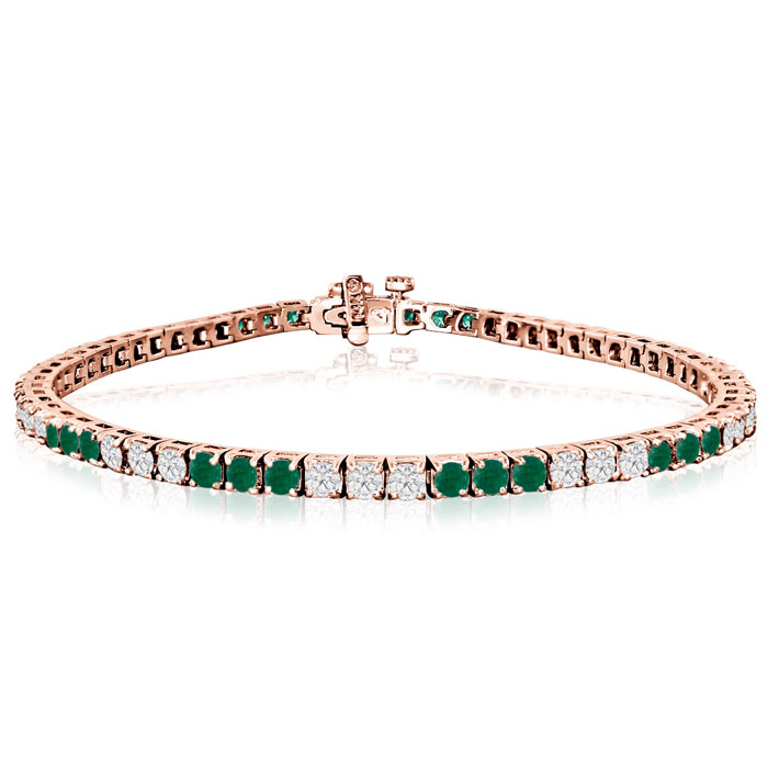 Fine quality 5 Carat Emerald and Diamond Bracelet in 14k Rose Gold