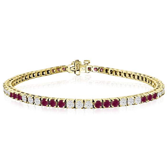 Fine quality 5 Carat Ruby and Diamond Bracelet in 14k Yellow Gold