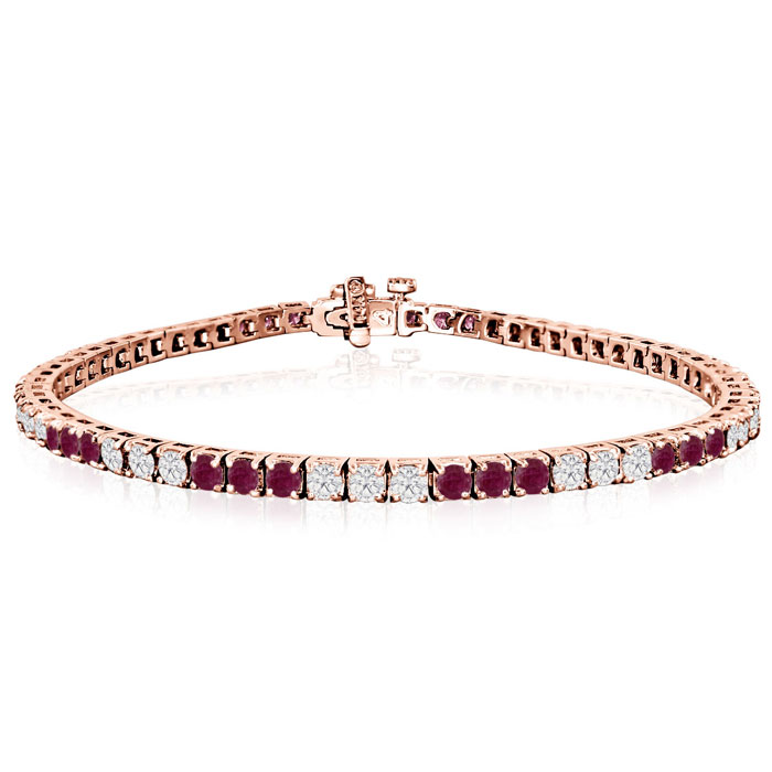 Fine quality 5 Carat Ruby and Diamond Bracelet in 14k Rose Gold