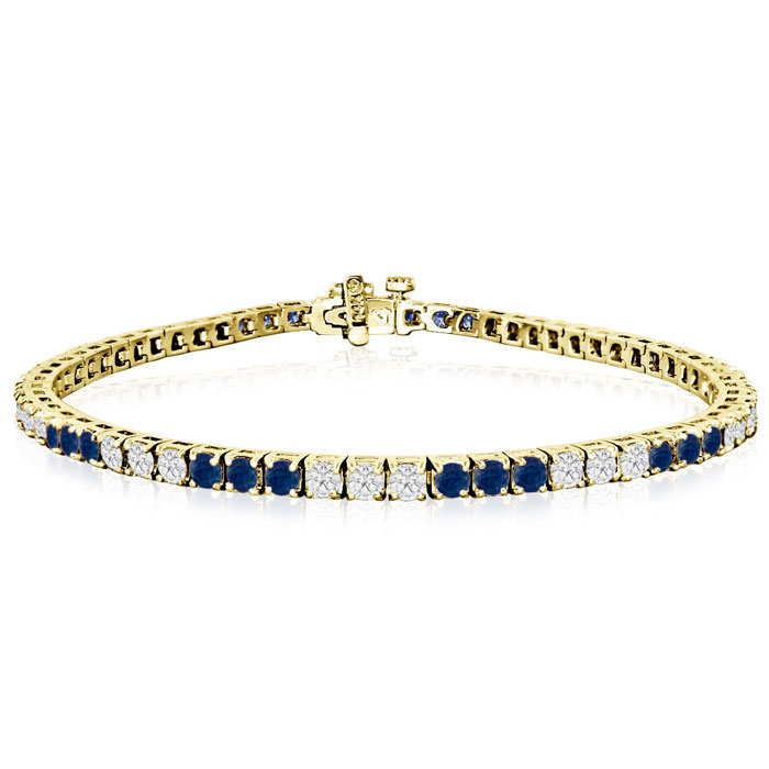 Fine quality 5 Carat Sapphire and Diamond Bracelet in 14k Yellow Gold