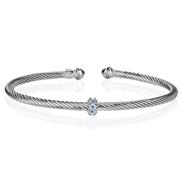 Sterling Silver 1/4 Carat Blue Topaz Bangle Bracelet, 7 Inch by S