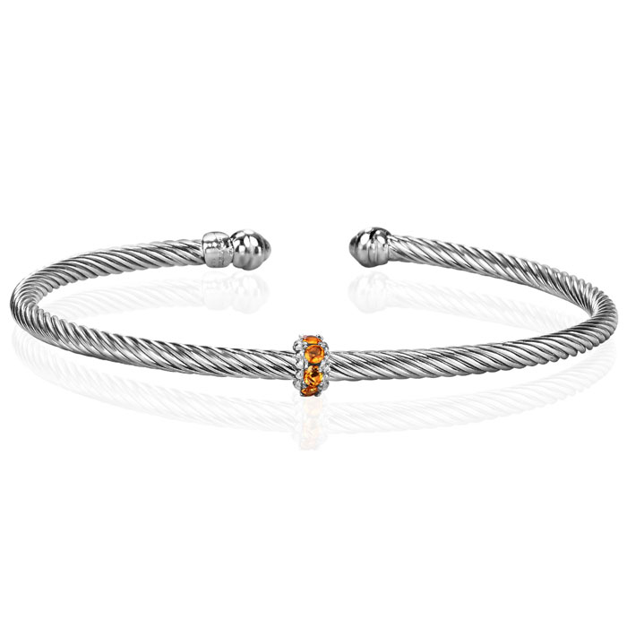 Sterling Silver 1/4 Carat Citrine Bangle Bracelet, 7 Inch by Supe