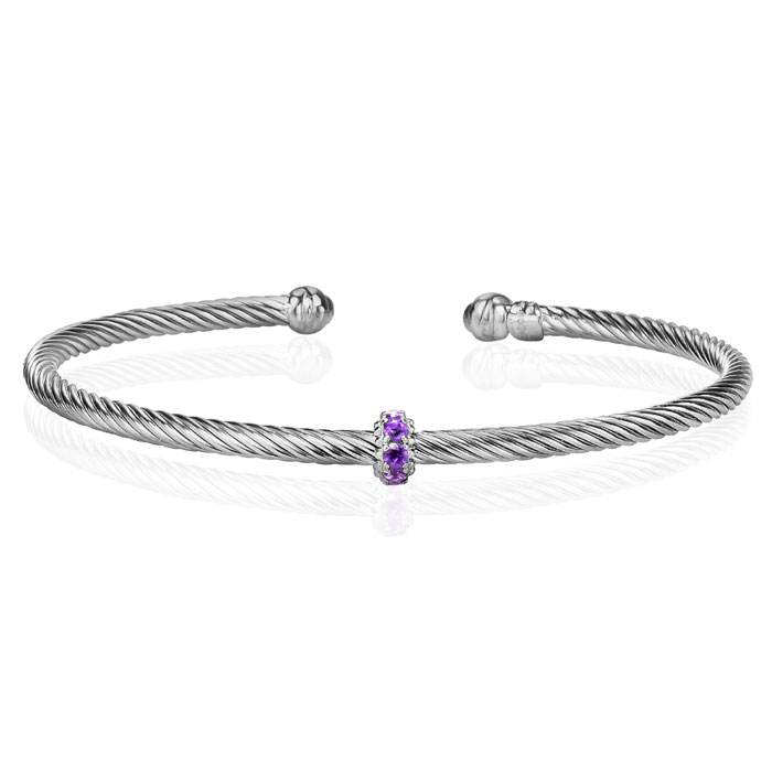 Sterling Silver 1/4 Carat Amethyst Bangle Bracelet, 7 Inch by Sup