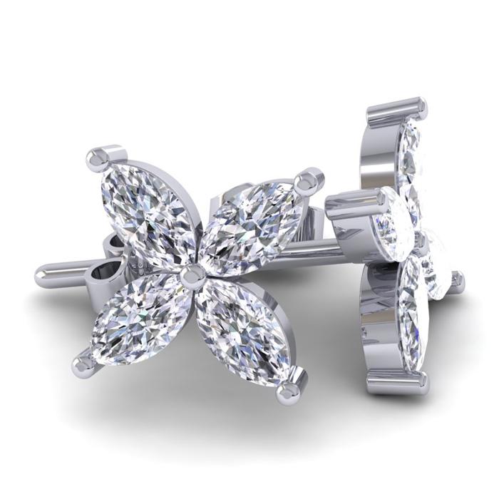 18K White Gold (3.6 g) 2 Carat Diamond Cluster Earrings, H/I by S
