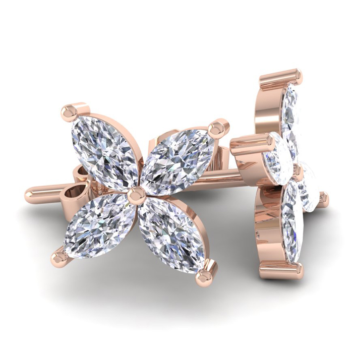 18K Rose Gold (3.6 g) 2 Carat Diamond Cluster Earrings, H/I by Su