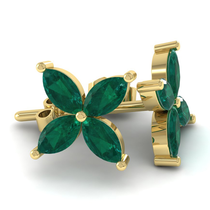 18K Yellow Gold (3.6 g) 2 Carat Emerald Cluster Earrings by SuperJeweler