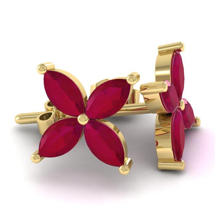 18K Yellow Gold (3.6 g) 2 3/4 Carat Ruby Cluster Earrings by SuperJeweler
