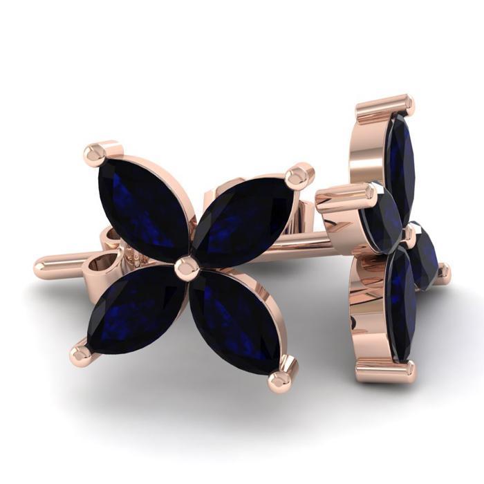 18K Rose Gold (3.6 g) 2 3/4 Carat Sapphire Cluster Earrings by SuperJeweler