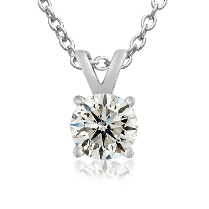 3/4 Carat 14k White Gold Diamond Pendant Necklace, K/L, 18 Inch C
