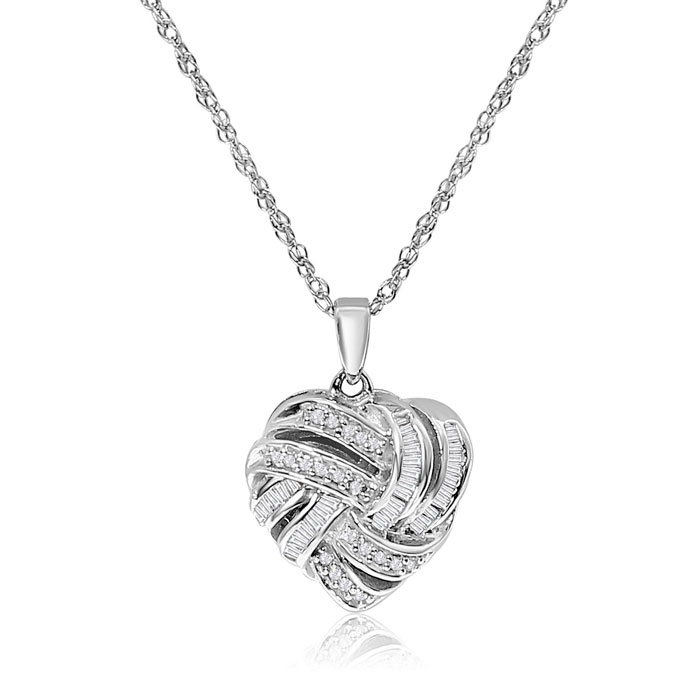 Sterling Silver 1/4 Carat Diamond Heart Necklace, w/ Round & Bagu