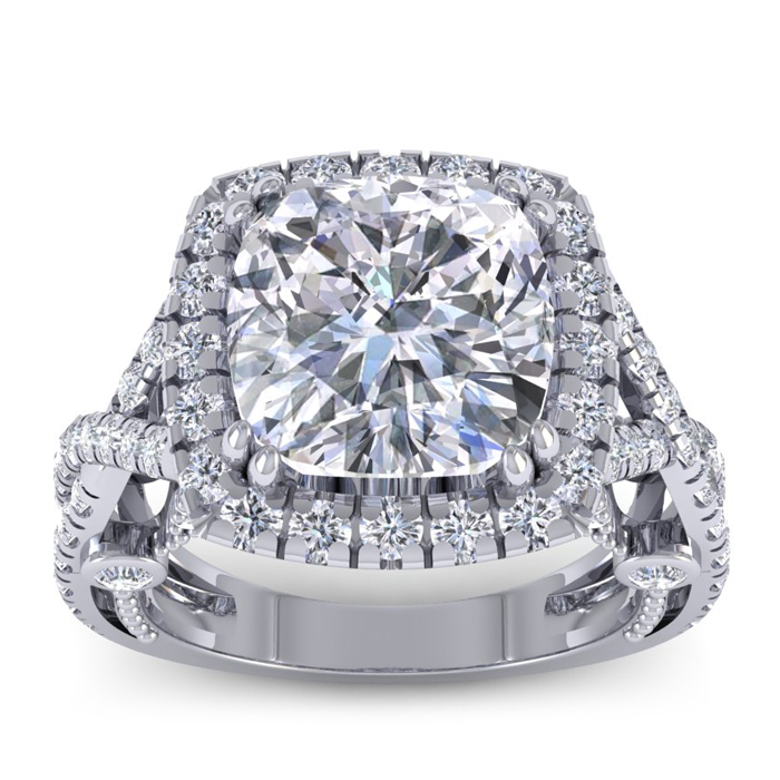 Image of 9 Carat Cushion Cut Halo Diamond Engagement Ring In 18 Karat White Gold, Center 6.93ct, Perfect D Color, SI1 Clarity